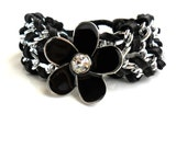 Chain Cuff / Black deerskin Leather /  Chain Bracelet  /  Enamel Flower / Unique gift for her - Daniblu
