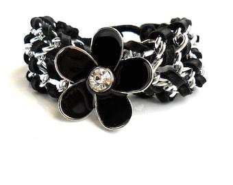 Chain Cuff / Black deerskin Leather /  Chain Bracelet  /  Enamel Flower / Unique gift for her