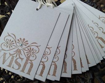 Wedding Wish Tree Tags Gray with Blue Sparkle Set of 50