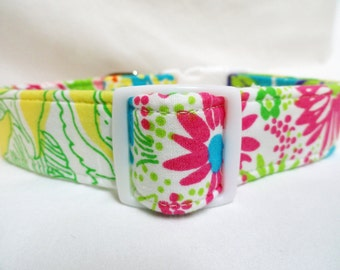 Lilly Pulitzer Repurposed Fabric Dog Collar Patchwork Flowers