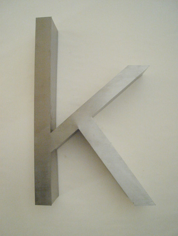 Large letter k lowercase metal with satin finish wall for Large letter k wall decor