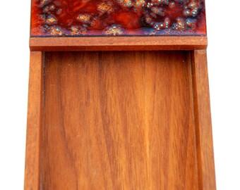 Mid-Century Modern Abstract Copper Enamel Art Teak Memo Holder
