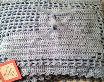 Crochet Baby Blanket (blue) with baby's favorites