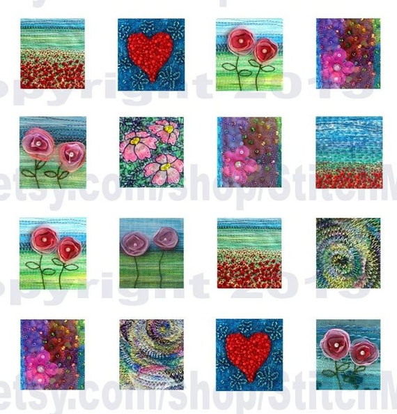 "0.75"" x 0.83"" tiles digital collage sheet instant download fabric art brights by Jackie Chadwick"