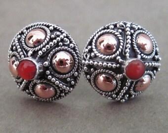 Awesome Bali Sterling Silver Carnelian stud Earrings / silver 925 / Balinese Handmade Jewelry / (#226K)