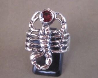 Balinese Sterling Silver Scorpion ring / silver 925 / Garnet stone /  Bali handmade jewelry / Size: 9.5 ready to Ship