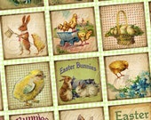 Easter Bunnies and Chicks / Easter / Spring - Printable INSTANT DOWNLOAD 1x1 Inch Square Tiles Digital JPG Collage Sheet