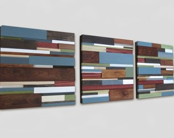 10% OFF SALE Coupon Code - Reclaimed Wood Art  - Set of Three Wood Wall Sculptures - Wall Hanging, Abstract Artwork