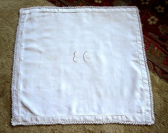 Pillow Case Bed Throw Sham Vintage Antique Muslin Linen & Lace Monogrammed Red