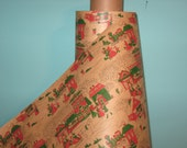 3 Yards Reserved Almost Gone Christmas Wrapping Paper Original Drug Store Kraft  Roll Christmas Scenes 18 Wide