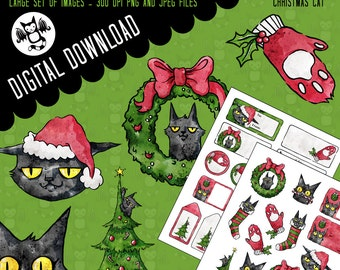 Christmas Cat - Gift labels and stickers, illustrations - Personal Use graphics