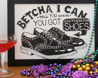 New Orleans Shoe Scam Linocut - Louisiana, NOLA Print , Bourbon Street Print, Linoprint, Brogues, New Orleans Hustle