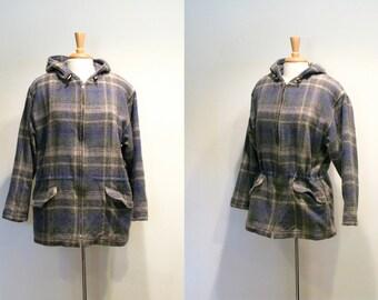 Vintage Woolrich Blue Plaid Wool Hooded Coat