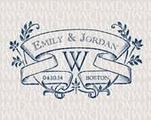 Ivy League Custom Wedding Monogram - Wedding Logo - Wedding Crest