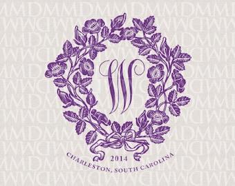Art Nouveau Wreath Wedding Monogram - Wedding Logo - Wedding Crest