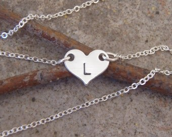 Tiny heart necklace - Tiny initial - Little girls initial - Flower girl gift - Sterling silver heart necklace - Photo NOT actual size
