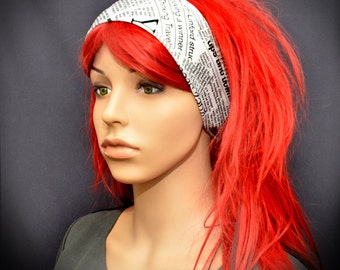 Black and white newspaper headband - head scarf - hair scarf