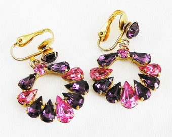 Bright Pink and Purple Hoop Earrings