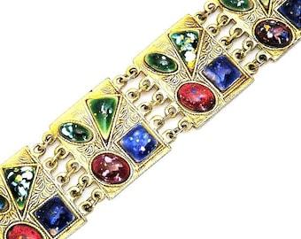 Art Deco Multi Colored Glass Cabochon Bracelet