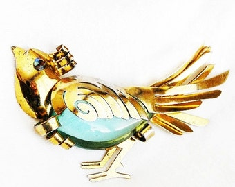 Large Acrylic Sterling Vermeil Bird Figural Brooch