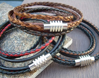 Mens Double Wrap Leather Bracelet with Stainless Steel Magnetic Clasp,  Leather Bracelet, Mens Gift,Mens Bracelet,Mens Jewelry, Gift for him