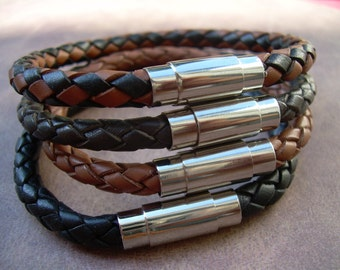 Leather Bracelet with Stainless Steel Magnetic Clasp, Mens Bracelet, Mens Jewelry, Mens Gift, Braided Bracelet, Fathers Day, Groomsmen
