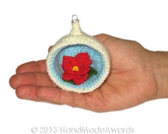 Christmas Diorama Ball POINSETTIA Ornament Pdf Email CROCHET PATTERN
