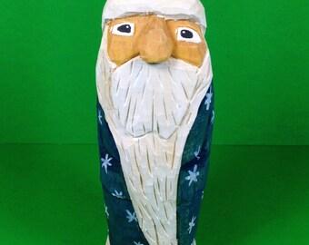 Hand Carved Snowflake Santa Wood Carving