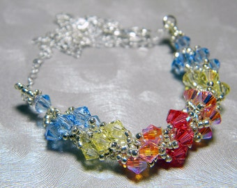 """Gemini Zodiac Lucky Colors Swarovski Crystal Necklace Beadweaving Sterling Silver - """"The Twins"""""""