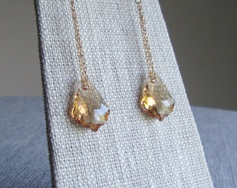 Bridal Party Earrings Swarovski Crystal Baroque Chain Earrings Light Colorado Topaz Crystal Earrings in Gold Filled