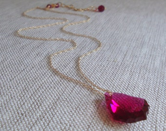 Bridal Party Necklace Swarovski Crystal Baroque Necklace Ruby Crystal Necklace in Gold Filled Etsy Weddings