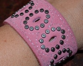 Pink and Studly Recycled Leather Cuff
