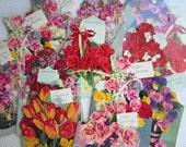 Vintage 1950s Wedding Anniversary Cards Flower Bouquet Photos Box set of 14