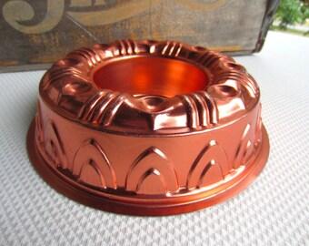 Vintage Copper Jello Mold Ring Bundt Wall Hanging Kitsch Retro Decor