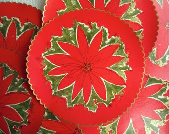Vintage Red and Gold Poinsettia Holiday Paper Placemats by Hallmark
