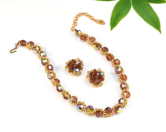 Hattie Carnegie Crystal Necklace Earrings Topaz Amber Gold AB Chain Choker Signed Designer Demi Parure Set Vintage - W2825