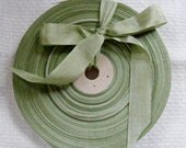 Vintage 1930's-40's French Woven Ribbon -Milliners Stock- 5/8 inch Scotch Moss