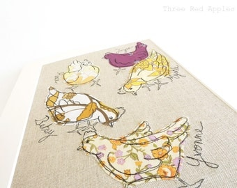 Me & my Girls - Personalised Chickens Mounted Embroidery - yellow, orange and purple - 14x11