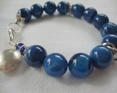 FREE SHIPPING Sterling Silver and  Cobalt Blue Stone Agate Bracelet