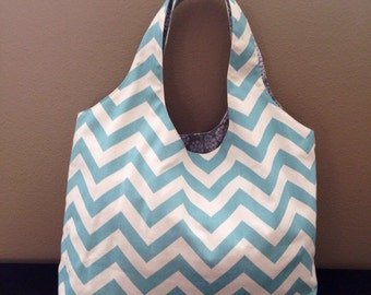 Chevron Tote Bag Aqua and Natural