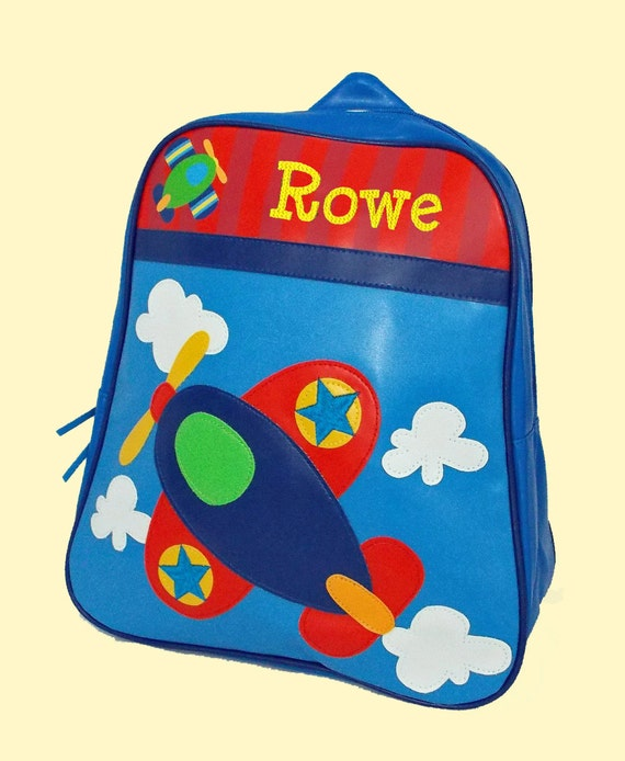 Personalized Stephen Joseph GoGo Backpack AIRPLANE Themed Bag in Blue Red Yellow and Green