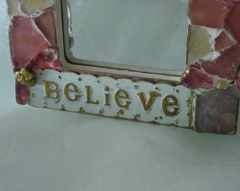 Hand decorated mirror, handmade, one of a kind