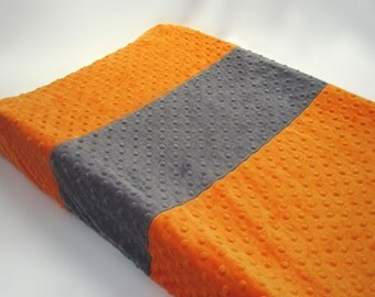 Orange Changing Pad Cover with Stripe