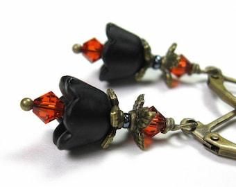 Black and Orange Lucite Flower Earrings, Dangle Earrings, Swarovski Crystal Earrings, Goth Sexy Womens Accessories, jewlrybyNaLa gifts