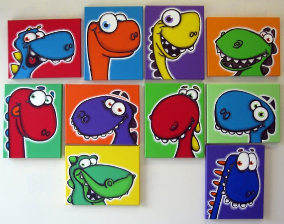 A Wall Full Of Dinos Set Of 10 8x10 Original Paintings On