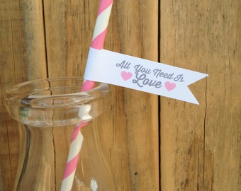 All You Need Is Love Custom Wedding Paper Straws Personalized Flags Shower