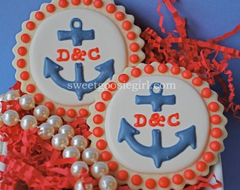 Preppy Personalized Monogrammed Anchor Decorated Sugar Cookies
