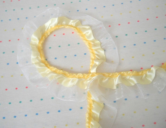 "Yellow Satin and White Organza Ruffle Trim, 1 1/2"" Wide"