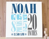 Personalized Nursery Art, Decor for Baby Boy Nursery, Kids and Children Rooms. 20x20 Custom Birth Canvas - NavyBlue/Gray