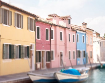 Venice Photography - Colorful Burano Houses, Boats on Canal, Dreamy Italy Travel Photograph, Wall Decor